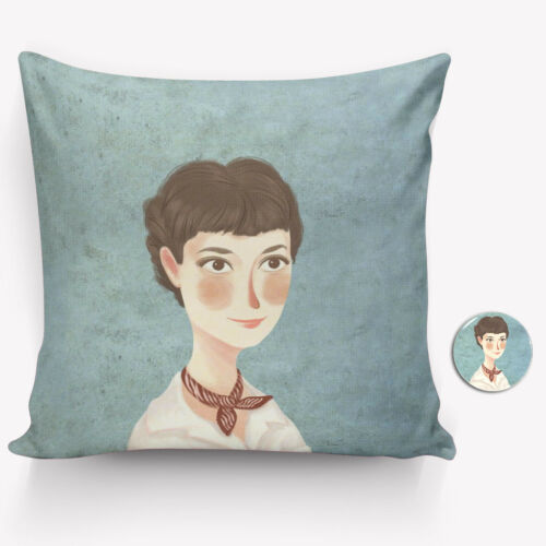 Audrey Hepburn Pillow Cover 40//45cm Hand-painted Style Pillow Case Free Badge