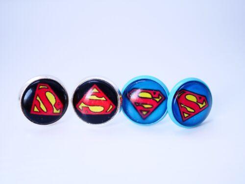 Cabochon Ohrstecker mit Superman Logo Superwoman Power Comic Style Ohrringe