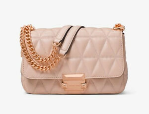 abc53caec325 MICHAEL KORS Sloan Small Quilted Leather Shoulder Bag_Soft Pink _New ...