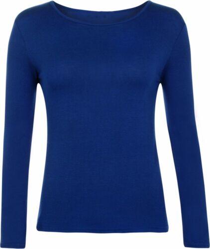 New Women Ladies Long Sleeve Round Neck Plain Basic Stretch Shirt Top