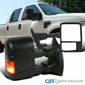 For 2008-2016 Ford F250 Super Duty Black Power Heated Tow Mirror+Signal Light