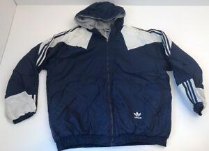 new concept 38ac0 6f42a Image is loading Vtg-Adidas-Jacket-3-Stripe-Trefoil-Logo-True-