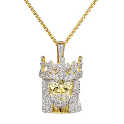 "Custom Franco Link Necklace 14k Gold Finish Simulated Diamond 22/"" Chain 12mm Men"