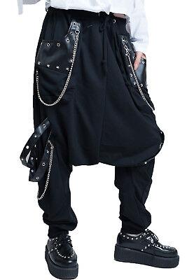 punk heavy rock Circus grommet strap designer harem pants w/ chains【JAG0002】