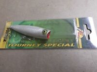 Custom Painted Bass Pro Shops Tourney Special Pop N Splash Popper,french Pearl