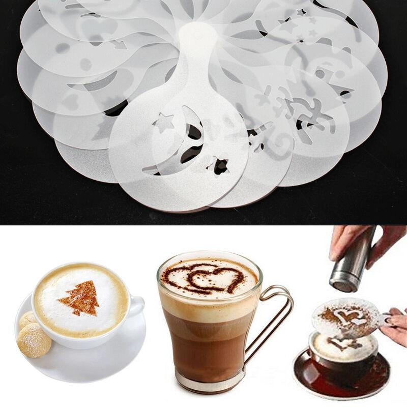 16pcs//set Coffee Cake Plastic Stencil Template Mold Tools Transparent Decor D1W6