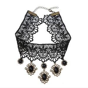 Gothic Choker Vintage Retro Classic Black Lace Lolita Collar Necklace Pendant QP