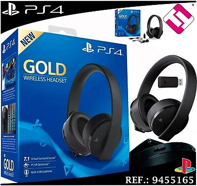 Headset Sony PS4 Gold Wireless Headset Microphone 7.1 Virtual Ps VR Optn | eBay