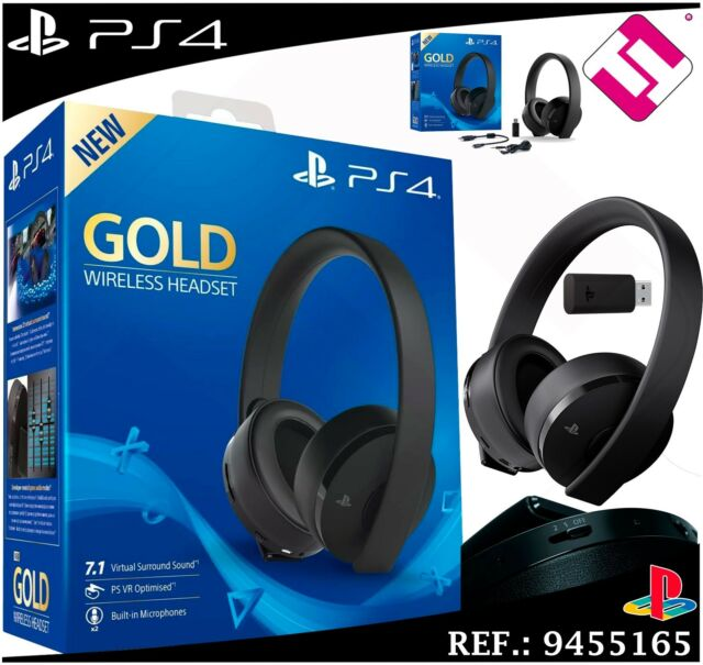 AURICOLARE SONY PS4 GOLD WIRELESS HEADSET MICROFONO 7.1 VIRTUALE PS VR 53bffc84d35b
