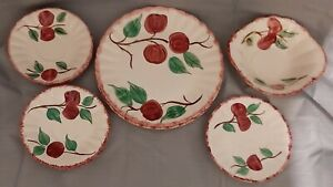 12-PC-BLUE-RIDGE-SOUTHERN-POTTERY-CRAB-APPLE-1-Lugged-2-LUNCHEON-1-BB-8-Saucers
