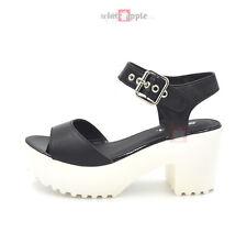 e6721dd521e Hot Women Open Toe Ankle Strap Platform Heel Sandal Chunky Lug Sole Soda  Savin