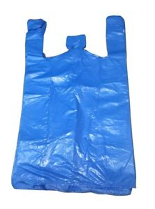 """Strong Blue Carrier Bags Vest XXL Large Jumbo 18mu 12x18x23"""" Select Size & Qty"""