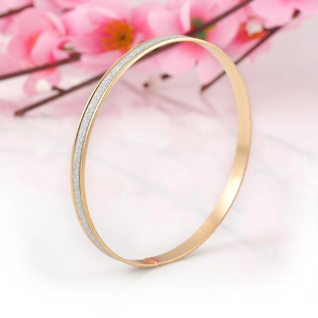 2PCS Gold/Silver Elegant Bracelets Bangle Brief Dull Polish Bracelet For Women