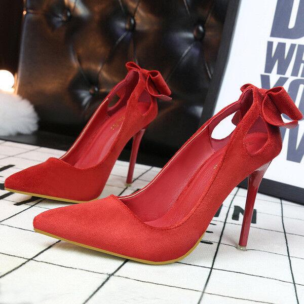 decolte scamosciati donna 10 eleganti stiletto eleganti rosso simil pelle 9655
