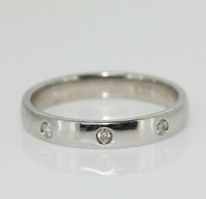 9ct White Gold 0.10ct Diamond Three Stone 3.5mm Band Ring (Size L, US 5 3/4)