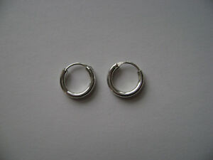 10be068ea3409 Details about Sterling Silver 12mm x 2mm Endless Hoop Earrings New