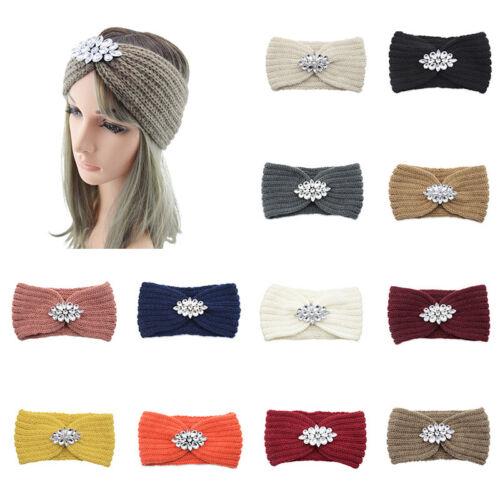Women Rhinestone Knitted Headband Elastic Crystal Flower Twist Crochet Hairband