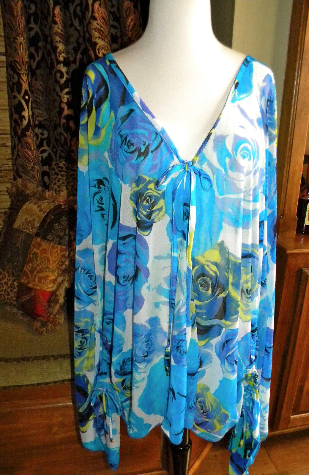 JANTZEN pink Parade Floral Swimsuit Cover Up Tunic Top Kimono Caftan NWT L XL
