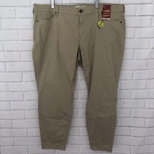 Arizona-Size-22-Juniors-Plus-Schoolgirl-Khaki-Skinny-Leg-Pants-Stretch-NWT