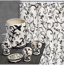 Bathroom Set, Shower Curtain + Hook-Basket, Pump, TB Holder -Soap Dish 18 Piece