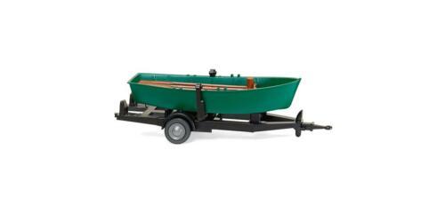 Wiking 009401 Ruderboot auf Anhänger türkisgrün 1:87 H0