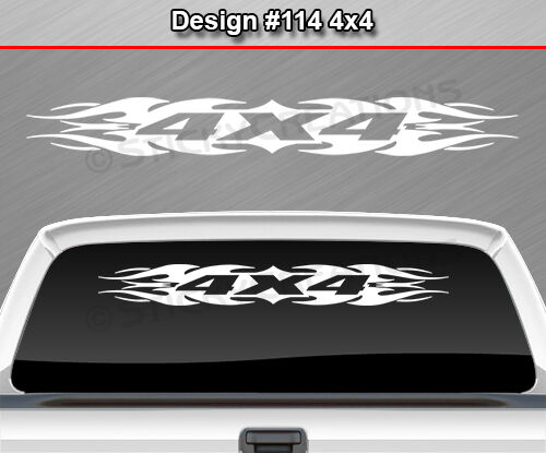 Design #114 4X4 Tribal Flame Windshield Decal Sticker Back Window Graphic Truck