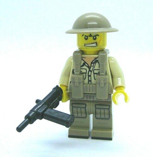 Lego Custom WW2 BRITISH Infantry Minifigure Brickarms STEN Brodie Vest -Soldier