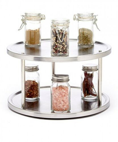 Kitchen Cabinet Pantry Organizer 2 Tier Lazy Susan Turntable Stainless  Steel | EBay