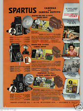 1955 PAPER AD 2 Sided Spartus Camera Spartaflex Fold Folding Full Vue View