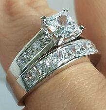 3 Ct Princess white Gold man made diamond 2 pic Engagement Wedding Ring Set  7