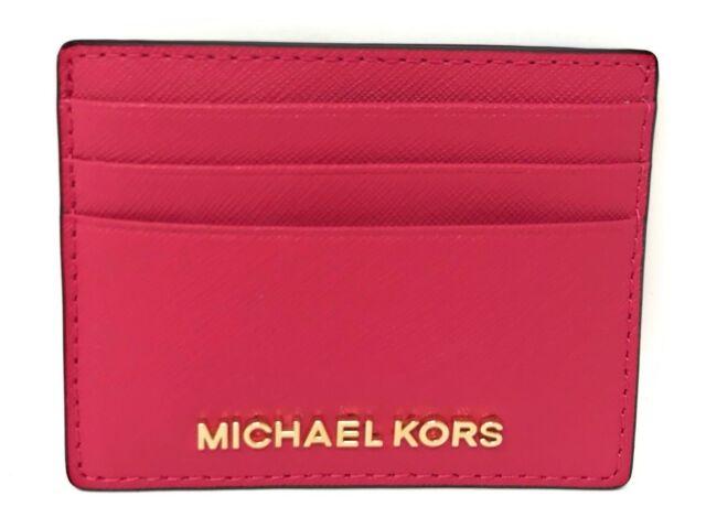 4c1459ec3643 Michael Kors Jet Set Travel LG Leather Card Holder Case in Rubin Red ...