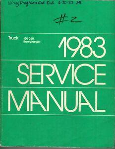 1983 DODGE 150-350 RAMCHARGER TRUCK SERVICE REPAIR MANUAL ...