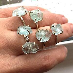 Raw-Aquamarine-Ring-925-Sterling-Silver-ring-Raw-Stone-Ring-Rough-Gemstone-Ring