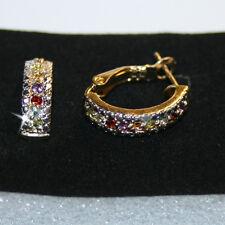 Multi Gemstone Half Hoop Earrings 14k Yellow Gold over 925 SS Genuine Gift Box