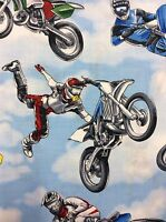 Tt19 Dirt Bike Racing Moto Cross Motorcycle X Blue Skies Cottton Quilt Fabric