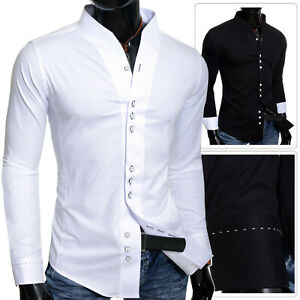 Details about Men's slim fit Party Dress Shirt Collarless Long Sleeve  Square Buttons Cotton UK