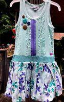 Naartjie Girl S (4) Mint Green Lace Overlay Bubble Skirt Sleeveless Dress