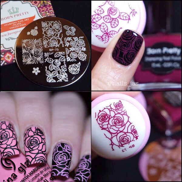 Born Pretty Nail Art Stamping Plate Rose Flower Image Stamp Template ...