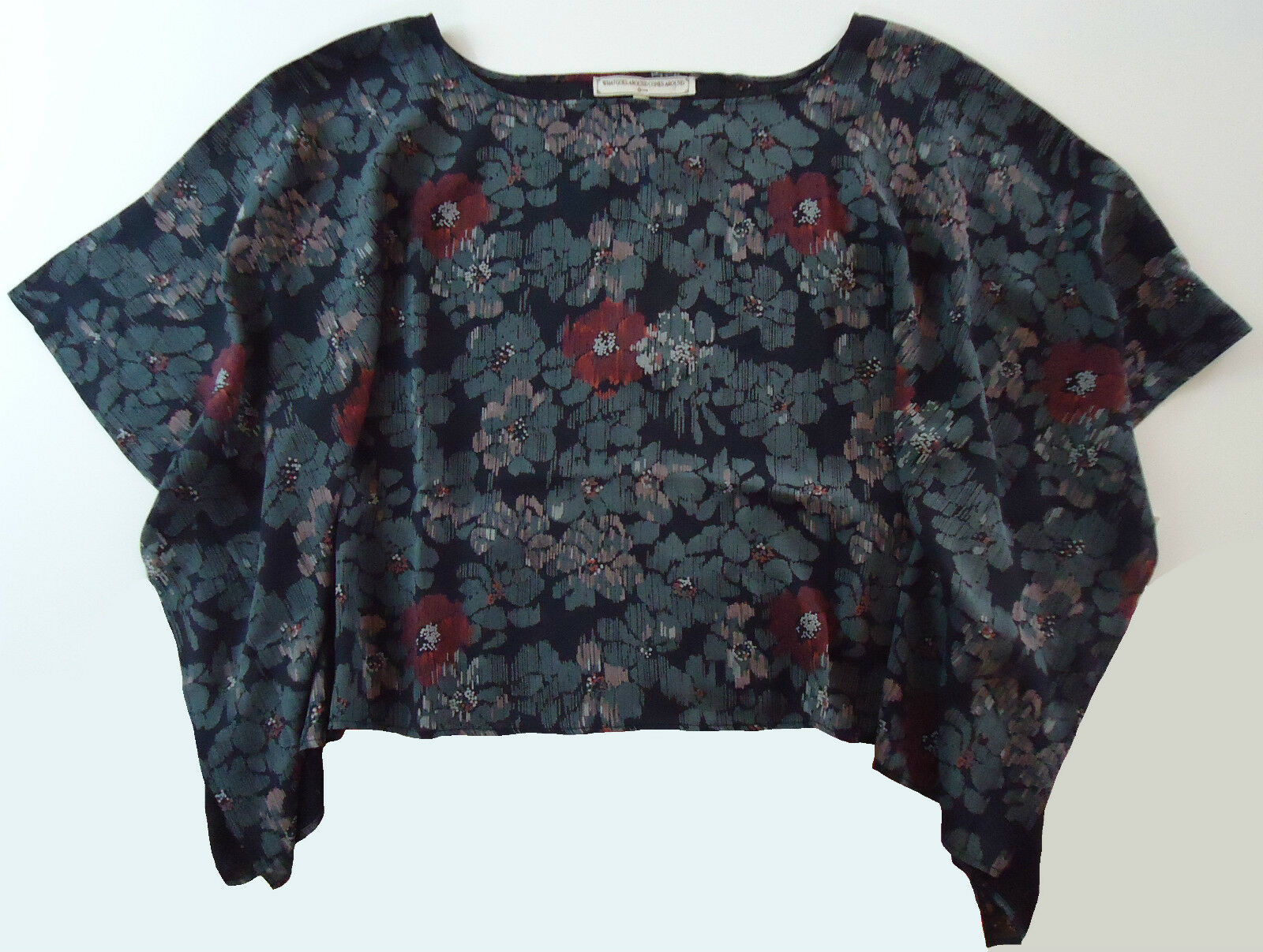 NWOT What Goes Around Comes Around Silk Floral Print Top Größe M