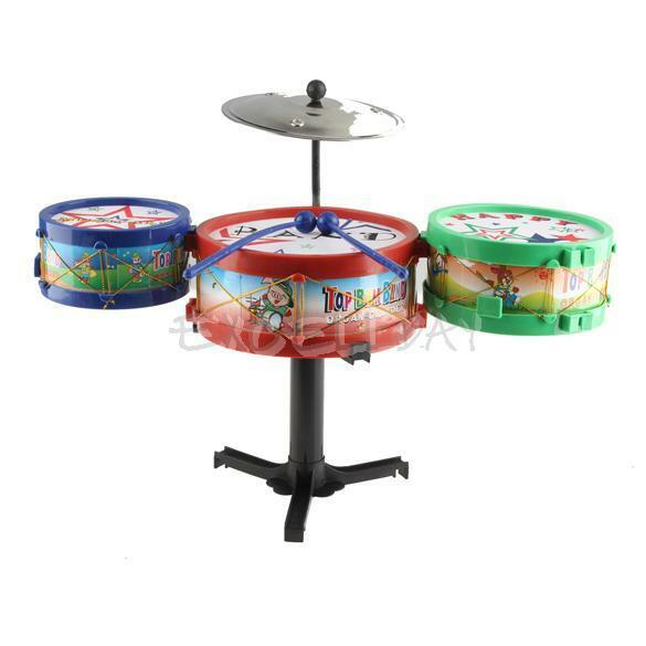 Children Musical Instruments Toy Kids Colorful Plastic Drum Drum Kit Set New