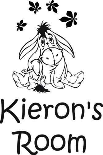 Eeyore Personalised Name Sticker Decal Wall//Door//Room Sticker Any Colour Disney
