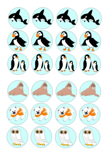 24 ARTIC ANIMALS  BIRTHDAY ICE//ICING EDIBLE FAIRY//CUP CAKE//BUNS  TOPPERS