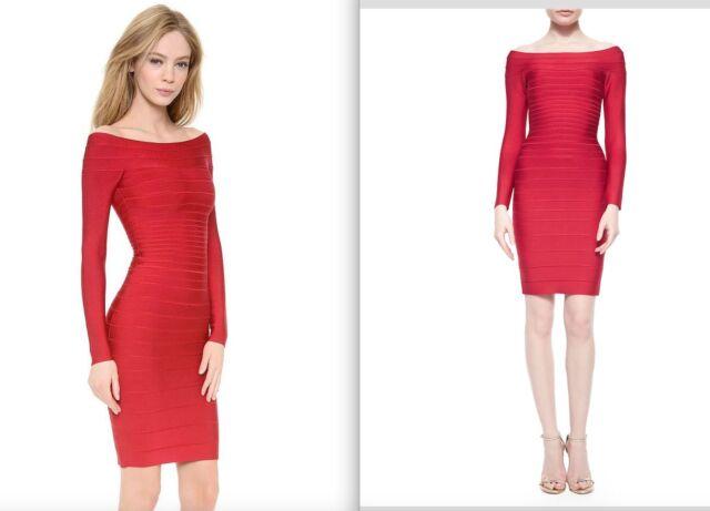 b9650ed258c HOT Herve Leger Red Long Sleeve Off The Shoulder Bandage Candice Dress   1150+t!