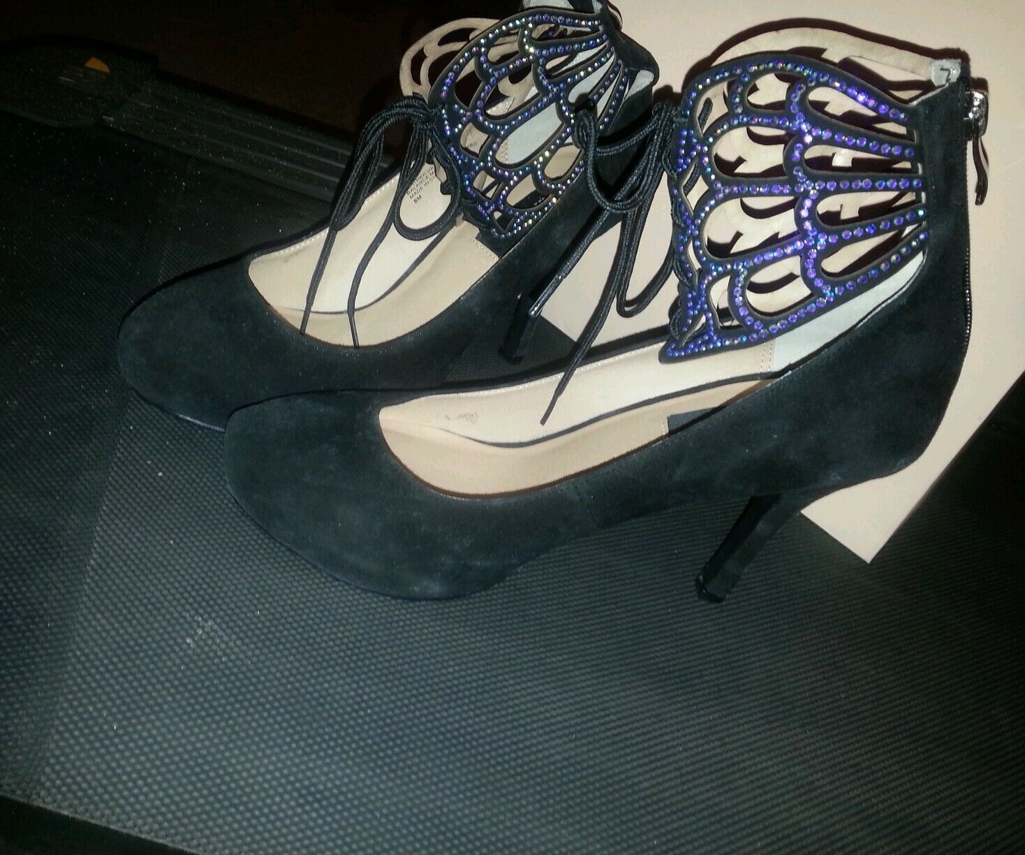 noir GLADIATOR LEATHER SUEDE PLATFORM chaussures W STONES & BACK ZIP-Taille 9 M