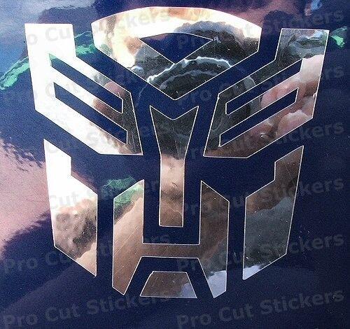 Decepticons x2 Transformers Plata Holograma Espejo Neo Cromo Coche Pegatinas