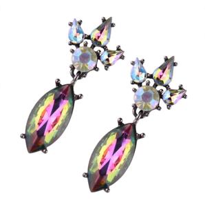 Reino Unido Vendedor Nuevo Pendientes de Cristal Hermoso Estilo Vintage 2 Colores