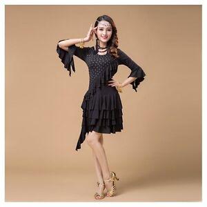 335f4cd67951b PLUS SIZE】 Latin Dance Dress up Salsa Tango Tassel Sequins Samba ...