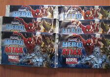 MARVEL UNIVERSE Lot de 6 BOOSTERS de 5 cartes HERO ATTAX - TOPPS