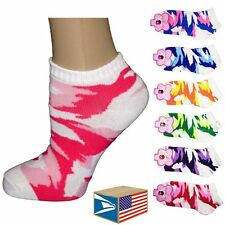 6 PAIR LOT WOMENS LADIES Camo Camouflage LOW NO SHOW ANKLE SOCKS! #E0617