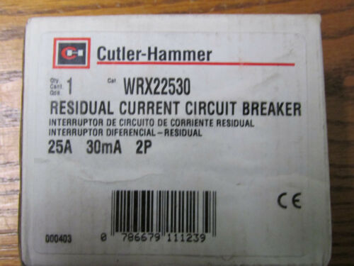 NEW NOS Cutler Hammer WRX22530 Residual Current Circuit Breaker 25A 30mA 2P